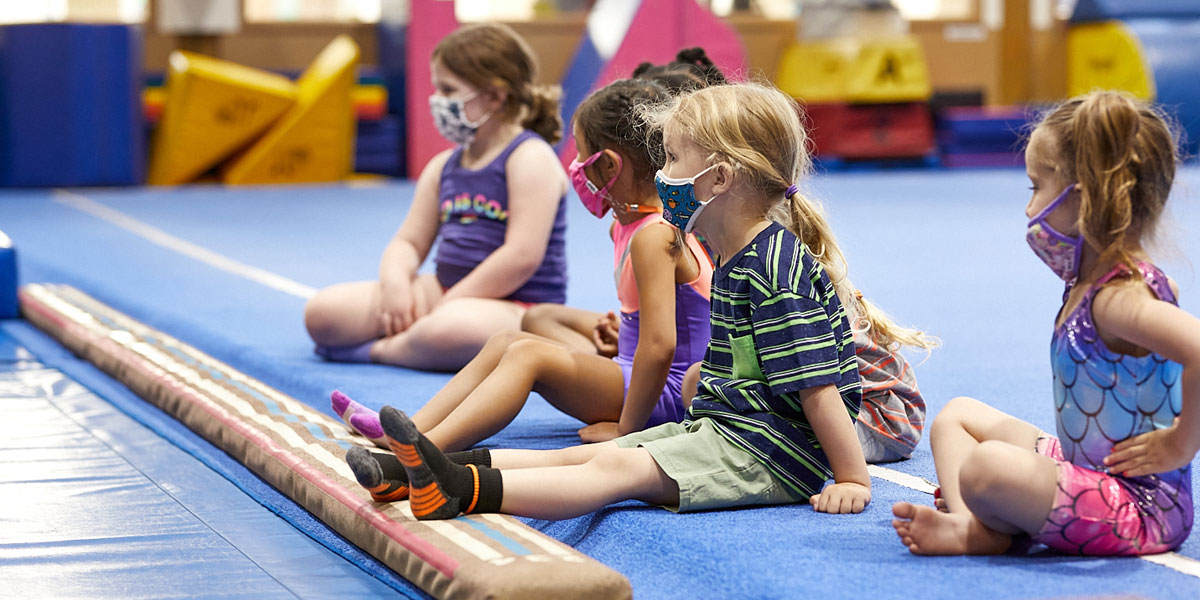 young girls in gymnastics class